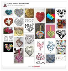 Rock Painting Ideas: Hearts Painted on Stones