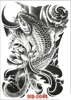 Japanese Dragon Koi Fish Tattoo Designs, Drawings and Outlines. The inspirational best red and blue koi tattoos for on your sleeve, arm or thigh. Koi Tattoo Design, Tattoo Design Drawings, Pez Koi Tattoo, A Tattoo, Koy Fish Tattoo, Full Tattoo, Japanese Koi Fish Tattoo, Japanese Tattoo Designs, Koi Fish Drawing