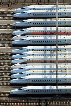The Shinkansen (新幹線, Bullet Train) is a network of high speed trains in Japan.