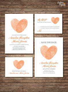 Wedding Invitation printables, Finger print Heart, Customized DIY, Thank you card, Save the date, RSVP by DallinsPaperie on Etsy