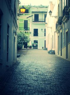 Puerto Rico Coblestone streets in Old San Juan, Capital of P.R.