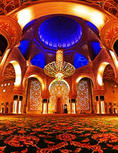 A panorama, HDR image of the inside of the amazingly ornate and decorated Sheikh Zayed Mosque in Abu Dhabi, UAE.
