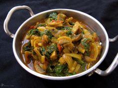 Sampinony so spenatom (Recepty z Indie) Japchae, Thai Red Curry, Spinach, Stuffed Mushrooms, Spaghetti, Pizza, Vegetarian, Dishes, Meat