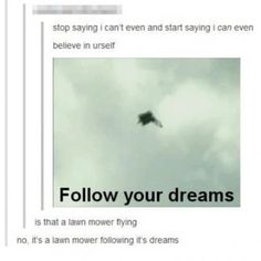 Hopeful mower follows its dreams