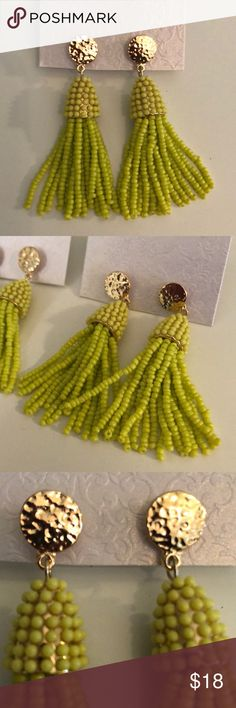 """Beautiful summer lime 2"""" drop tassel earrings -NWT - lime green  - picture of actual item - 2"""" approx (see measurements)  - gold Tone hypoallergenic - stud back (comfort back)   Beaded and quality made! Please look at all pictures as they are part of the description. If you have any questions please ask as all Poshmark sales are final,  per Poshmark rule.  Wrapped in retail and ready to ship! These are both lovely & FUN!  Only 2 left! SUMMER JEWELRY Jewelry Earrings"""