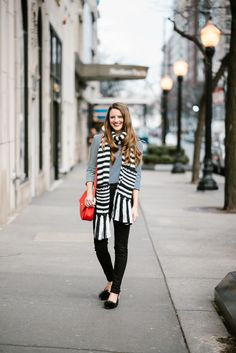 Fun shoes, a bright bag & stripped scarf = the best winter day ever
