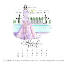 The first SANDY M 2015 Fashion Illustration Calendar is available now! All of the girls in the illustrations are wearing gowns from designer spring summer 2015 collections! March's girl (who is already making plans for a summer Hampton's pool party) is wearing #badgleymischka ✨ CALENDAR AVAILABLE AT www.sandymillustration.com #illustration #fashion #calendar #sandym2015calendar