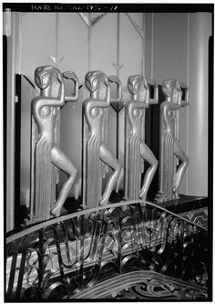 "Dancing Figures, Paramount Theatre, Oakland, California Historical American Buildings Survey, Library of Congress The interior is awash in amazing Deco details. Many pictures coming up. From LoC: ""..."