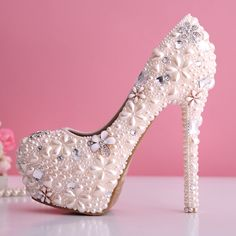 Hot Pink Diamond Heels | pink pearl shoes rhinestone wedding shoes ultra high heels thin heels ...