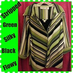 Super rad Green/Black Stripped Dress Shirt This is a very pretty and feminine dress top perfect for a day at work or dressed up for an event. Very silky feeling so flowy& roomy . The design is very slimming. Has a nice stretch, pattern and color . The sleeve is 3/4 . Made of 95% Polyester 5% Spandex . Worn a few times but still alot of love to give. Blue Diamond Plus Tops Button Down Shirts
