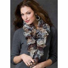 Mary Maxim - Free Knit or Crochet Ruffle Scarf Pattern