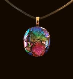 Handmade Dichroic Glass Pendant by TL Gallego