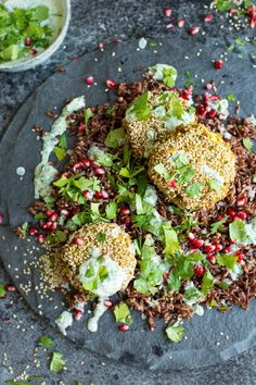 Spiced Chickpea Fritters with Wild Rice and Green Yoghurt Sauce | Perfect protein for salads! | Vegan, dairy free, gluten free, and vegetarian. | Click for healthy recipe. | Via  Lauren Caris Cooks