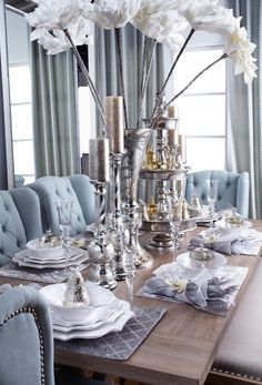From our Fall/Winter Entertaining Guide: neutral tones with pops of Venetian Blue and mixed metallics. Repin if this look is your style.