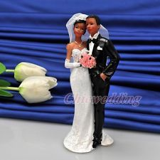 African American Couple Wedding Cake Toppers Bridal Bride Groom Decoration