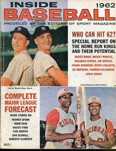 baseball magazines 1962 | 1962 Inside Baseball Magazine Mantle Maris Robinson EX Condition ...