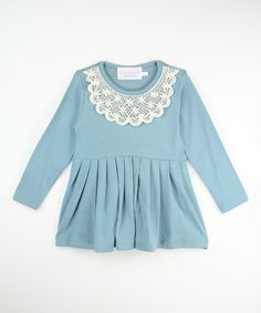 This Light Blue Lace Collar Dress - Toddler & Girls is perfect! #zulilyfinds