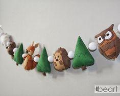 Woodland felt small animals nursery garland beaver | Etsy Forest Decor, Forest Theme, Felt Decorations, Small Animals, Animal Nursery, Wool Felt, Squirrel, Nursery Decor, Baby Shower Gifts