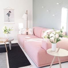 Pink sofas always steal  the show | The 'connect' sofa in rose & 'around' coffee tables by @muutodesign • Photo via @nordiskehjem #blush #muuto #pinkcouch
