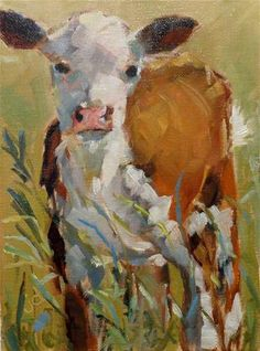 "Daily Paintworks - ""Cow 25...Baby"" - Original Fine Art for Sale - © Jean Delaney"