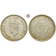 Indien, Britisch-Indien, George VI., Rupee 1916, vz: George VI. 1936-1947. Rupee 1916 Bombay. ohne Punkt. KM 555; vorzüglich, kl.… #coins
