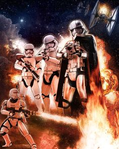 The Force Awakens character print featuring Captain Phasma and other Stormtroopers by Paul Shipper