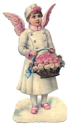 Vintage Christmas Print- Victorian Angel with Pink Wings (Free Printable)