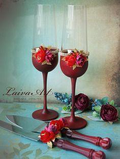 Wedding Toasting Glasses and Cake Server Set Personalized Wedding Cake Server Birch Champagne Flutes