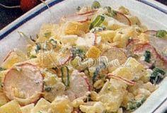 Bramborový salát s vejci a ředkvičkami - recept. Přečtěte si, jak jídlo správně připravit a jaké si nachystat suroviny. Vše najdete na webu Recepty.cz. Pasta Salad, Potato Salad, Potatoes, Chicken, Ethnic Recipes, Food, Pearls, Crab Pasta Salad, Potato