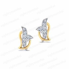 Two Tone Gold On 925 Sterling Silver Round White Diamond Sparrow Stud Earring #eighty #SparrowStud