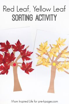 Red Leaf, Yellow Leaf Sorting Activity. A fun sorting activity for your kids at home or in your preschool classroom! - Pre-K Pages