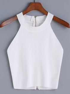 Halter Zipper Knit Cami Top — 0.00 € ----------------------------color: White size: one-size