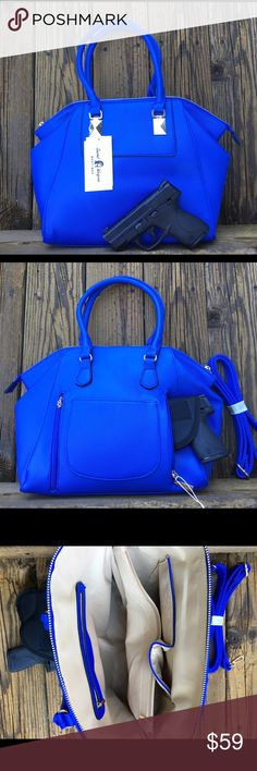 """Blue Concealed Carry Purse Conceal and Carry Handbag Gun pocket in back has two zippers for easy left or right handed access Removable Velcro Holster included Blue with gold tone Extra longer strap included 15"""" x 11"""" Faux Vegan Leather Bundle and save!!! , Tommy Hilfiger, coach, Michael Coors, Louis Vuitton, Gucci, pocketbook, Bags Shoulder Bags"""