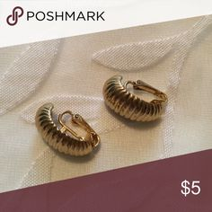 Gold Clip On Earrings Open to all offers! Previously loved but in wonderful condition. These have a very vintage feel. Brand is not actually Anthropologie, has no brand name, but similar to that style! :)  Check out my page for more cute stuff! I usually sell clothing/accessories/jewelry/makeup! 💜 Anthropologie Jewelry Earrings
