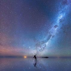 """""""Those who see the cosmic perspective as a depressing outlook, they really need to reassess how they think about the world. Because when I look up in the universe, I know I'm small but I'm also big. I'm big because I'm connected to the universe, and the universe is connected to me."""" – Neil deGrasse Tyson (Image credit: 'The Mirrored Night Sky' by Xiaohua Zhao taken at the world's largest salt flat in Bolivia) #astrophotography #universe #neildegrassetyson #milkyway #cosmos"""