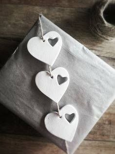Wrapping a secret Valentine gift for my husband. Gift tags by La Maison Jolie Clay Christmas Decorations, Christmas Clay, Christmas Crafts, Polymer Clay Projects, Diy Clay, Clay Crafts, Salt Dough Ornaments, Clay Ornaments, Secret Valentine