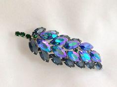 Rhinestone Brooch Leaf Design AB Marquise Fancy by DejaVuVintiques, $23.00