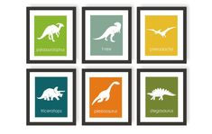 Dinosaur Art Prints - Choose Colors- Triceratops, Trex, Boys Dinosaur Room, Dinosaur Wall Art, Science, Nursery Print, Toddler Wall decor