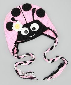 Mercy would look darling in this.    Take a look at this Pink Ladybug Earflap Beanie by Crossroad on #zulily today!