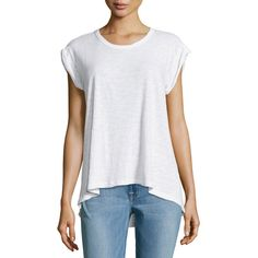 W by Wilt Rolled-Cuff Slouchy Slub Tee ($49) ❤ liked on Polyvore featuring tops, t-shirts, white, short sleeve tee, short sleeve pullover, scoopneck tee, white scoop neck tee and short sleeve t shirts