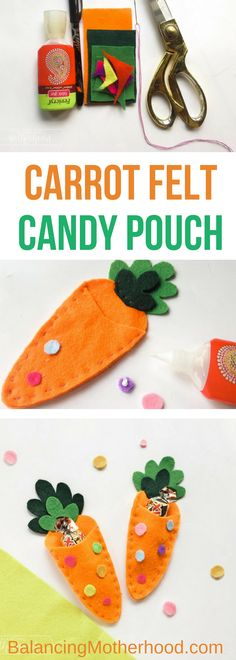 This is a great Easter craft! This is almost no-sew and is so easy and cute!! Free pattern template comes with these instructions on how to make this carrot felt craft candy pouch. Perfect for Easter baskets. #easter #feltcraft #craft