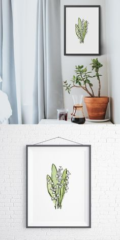 Lily Of The Valley downloadable botanical decor. Printable flower wall art. Digital prints from Pine Trees Studio