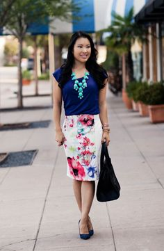 how to wear a white floral pencil skirt - Google Search | flowers ...