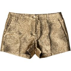 Pre-owned Michael Kors Metallic Mini Shorts ($95) ❤ liked on Polyvore featuring shorts, bottoms, gold, gold shorts, michael kors, gold hot shorts, micro shorts and mini short shorts