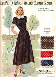 "Fashion Frocks ""Coolest Addition to any Summer Scene"" 1950 Another swiss dot cutie! Sales sample card for Style ""a sheer, lacy frock of swiss lawn"". Moda Vintage, Vintage Fabrics, Vintage Sewing Patterns, Vintage Ads, 1940s Fashion, Vintage Fashion, Fashion Models, Vintage Dresses, Vintage Outfits"