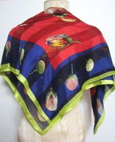 ELLEN TRACY PURPLE RED & GREEN SHEER SILK BLEND SCARF $59.99