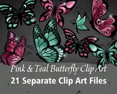 Printable/Digital Pink & Teal Butterfly Clip Art Printable Numbers, Printable Letters, Printable Art, Butterfly Clip Art, Minnie Mouse Pink, Making Shirts, Art File, Nail Decals, Alphabet And Numbers