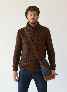 Men's Brown Shawl-Neck Sweater, Navy Jeans, Navy Canvas Messenger Bag, Navy and Green Plaid Flat Cap Mens Shawl Collar Sweater, Men Sweater, Men Cardigan, Cardigan Sweaters, Handgestrickte Pullover, Hand Knitted Sweaters, Mens Jumpers, Brown Sweater, Navy And Green