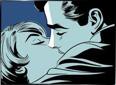 Ilustración de stock : A retro comic style illustration of a couple kissing Bd Pop Art, Halftone Pattern, Kiss Art, The Royal Collection, The Embrace, Favorite Cartoon Character, Illustration, Comic Styles, Black Women Art