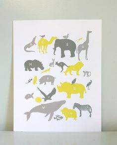 Yellow and Gray alphabet animal print kids room - if only they would fit the Icelandic words.